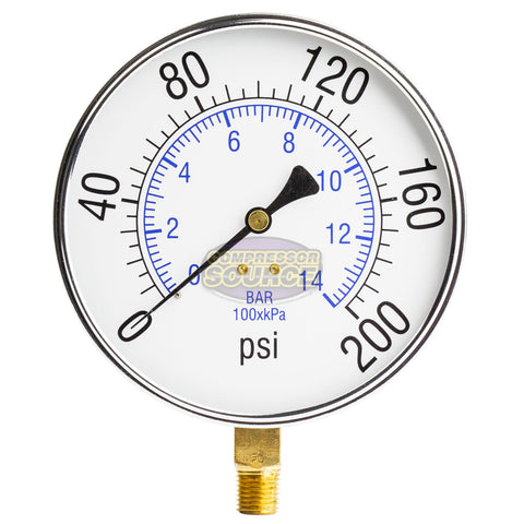 "1/4"" NPT 0-200 PSI Air Pressure Gauge Lower Side Mount With 4.5"" Face"