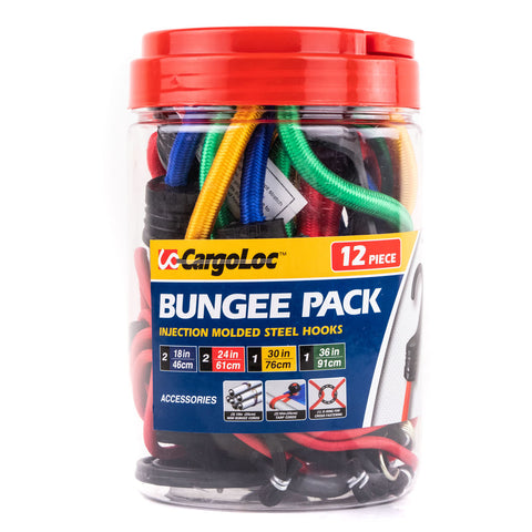 "12 Piece Bungee Cord Assortment Bungees Mini Cords Tarp Cord Fastening O-Ring 18"" 24"" 30"" 36"""