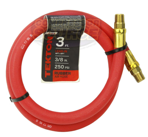"Tekton 3/8"" x 3' Rubber Lead-In Air Hose Whip 250 PSI Made in the USA 46332"