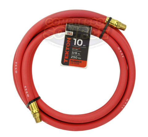 "Tekton 3/8"" x 10' Rubber Lead-In Air Hose Whip 250 PSI Made in the USA 46334"