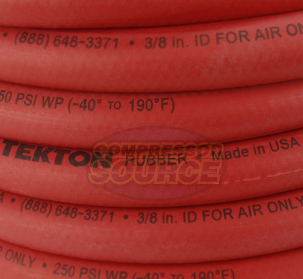 "Tekton 3/8"" x 25' Rubber Air Hose 250 PSI Flexible Quality 46335 Made In The USA"