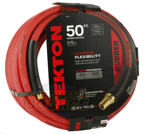 "Tekton 3/8"" x 50' Rubber Air Hose 250 PSI Flexible Quality Brass Ends 46337 USA"