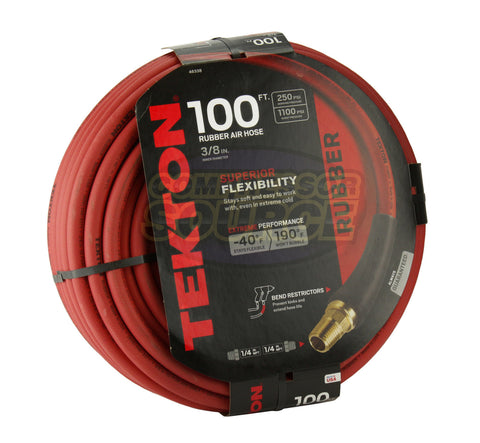 "Tekton 3/8"" x 100' Rubber Air Hose 250 PSI Flexible Quality Brass Ends 46338 USA"