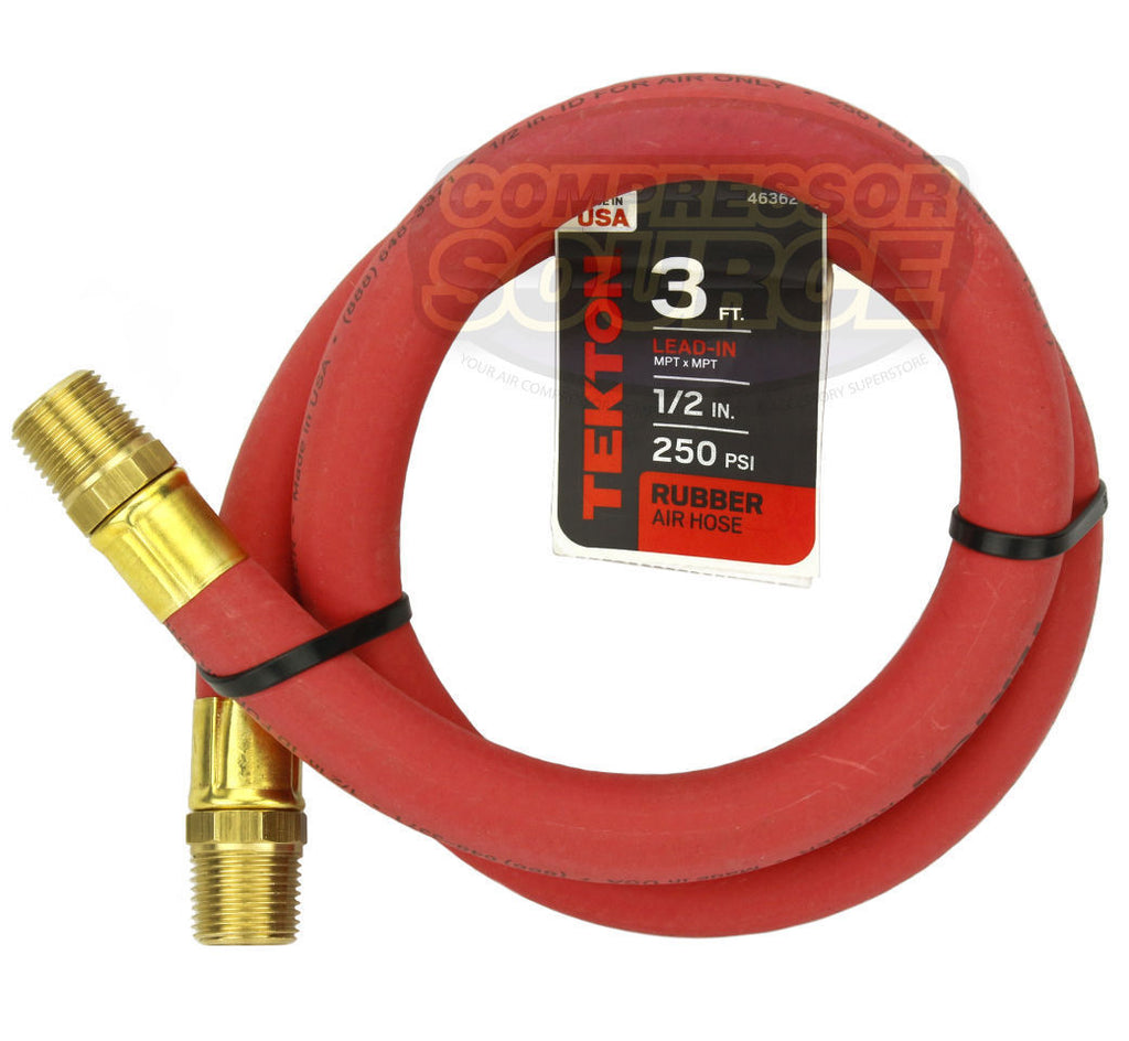 "Tekton 1/2"" x 3' Rubber Lead-In Air Hose Whip 250 PSI Made in the USA 46362"