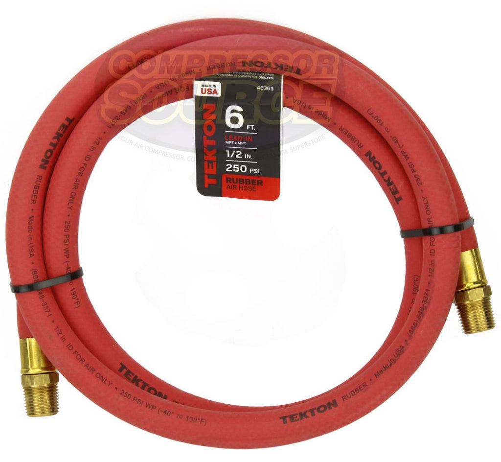 "Tekton 1/2"" x 6' Rubber Lead-In Air Hose Whip 250 PSI Made in the USA 46363"