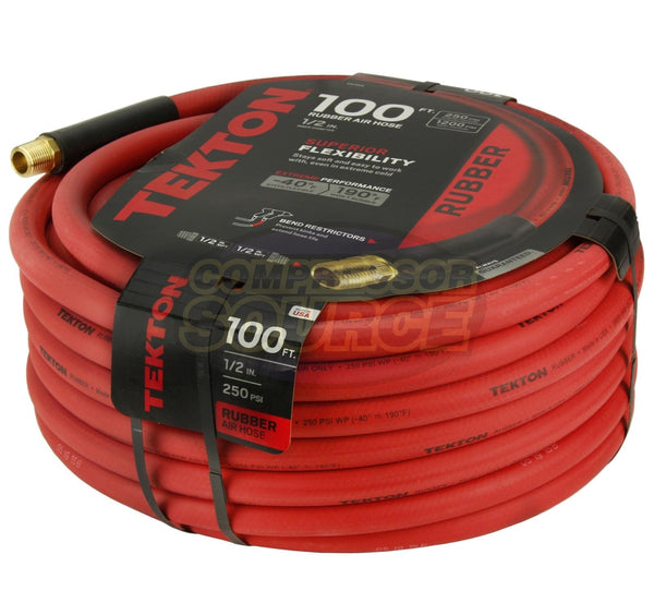 "Tekton 1/2"" x 100' Rubber Air Hose 250 PSI Flexible Quality Brass Ends 46368 USA"