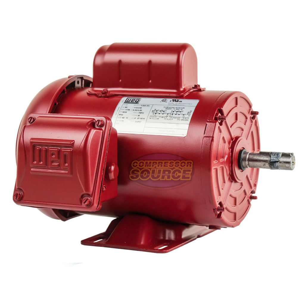 1/2 HP Air Compressor Electric Motor W56 Frame 1730 RPM Single Phase WEG New