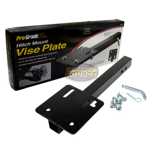 "Steel Bench Vise 8"" x 8"" Hitch Mounted Plate for 2"" Receiver 22"" Receiver Bar"