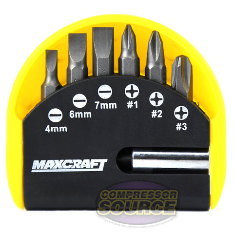 7 PC Maxcraft 60510 Pocket Screwdriver Bit Set Phillips Flat Driver And Case