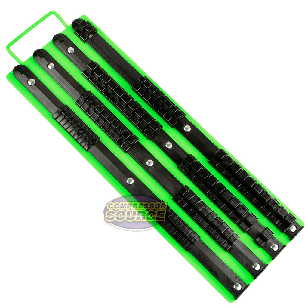 "1/4"" 3/8"" 1/2"" Socket Rail Holder Organizer Tool Tray SAE Heavy Duty Steel 80 Slot GRIP 67339"