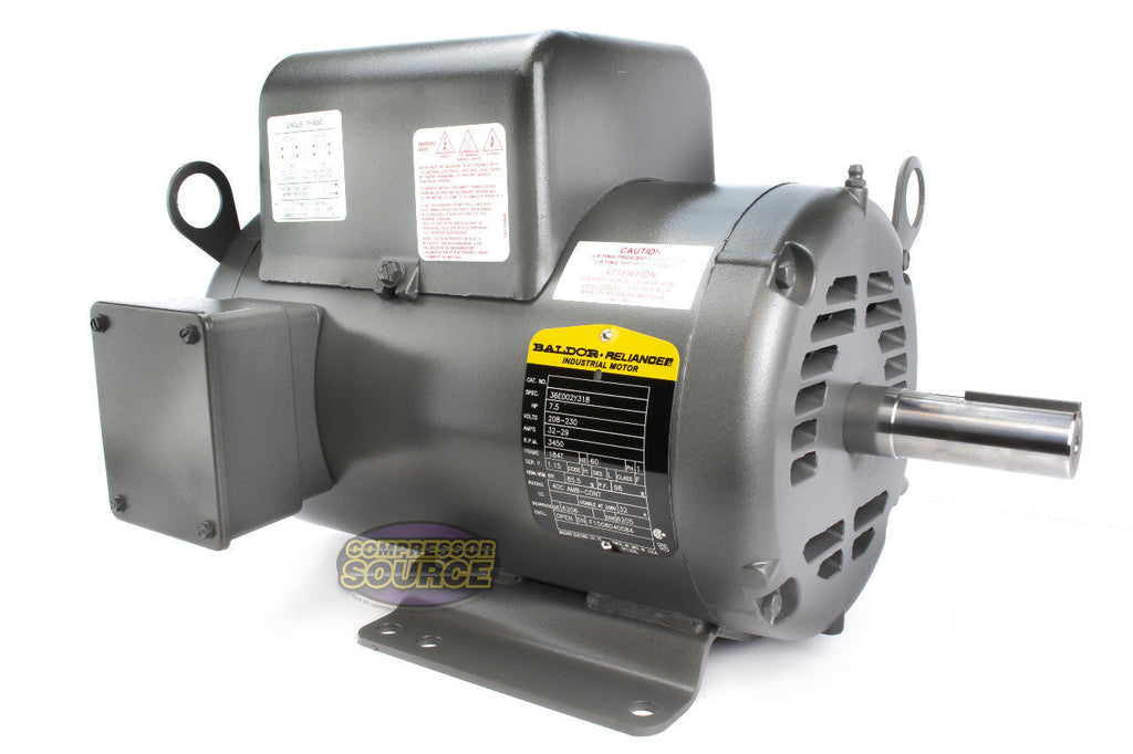 baldor 7 5 hp single phase electric compressor motor 184t