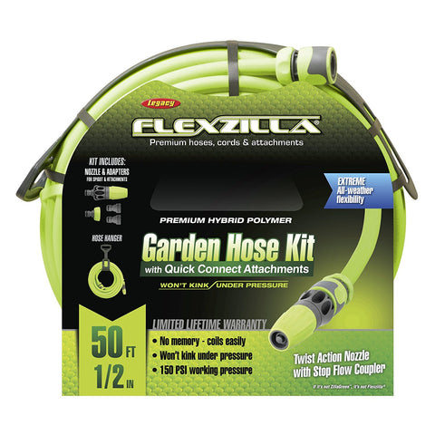 Flexzilla 50' Garden Hose Kit W/ Quick Connect Spigot Attachments Hose Hanger