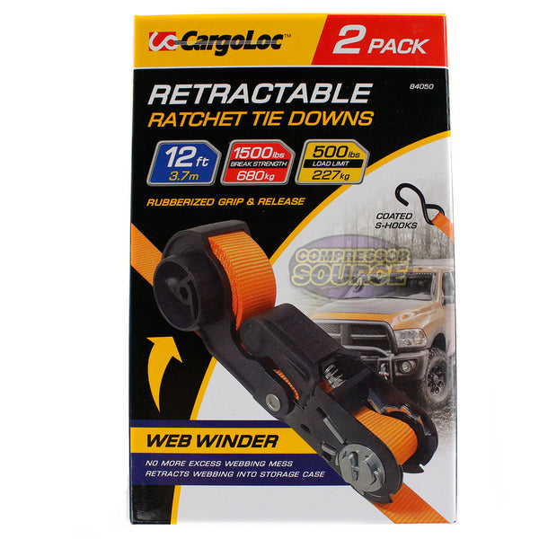 Retractable S-Hook Ratchet Tie Downs 12' 2 Pack CargoLoc Rubber Handle 84050