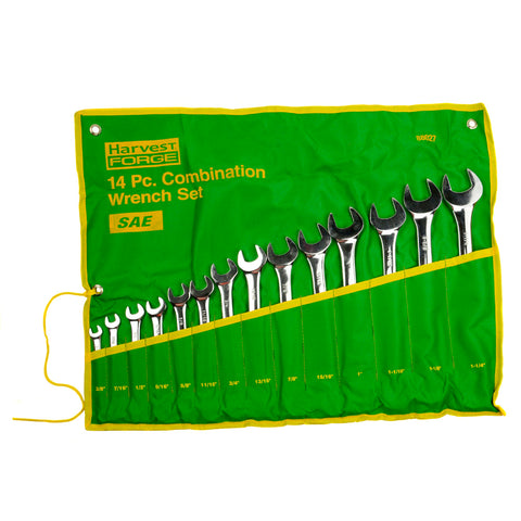 "14PC Piece SAE Standard Combination Wrench Set w Roll-Up Pouch 3/8"" to 1 1/4"" 88027"