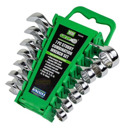 7 Piece Stubby Combination Wrench Set Metric w/ Storage Rack Case 10mm to 18mm GRIP Tool 89098