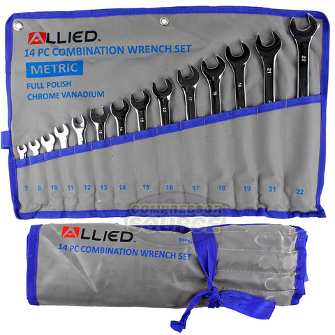 Allied Tools 14 Piece Combination Wrench Set 7-22mm with Roll up Storage Metric