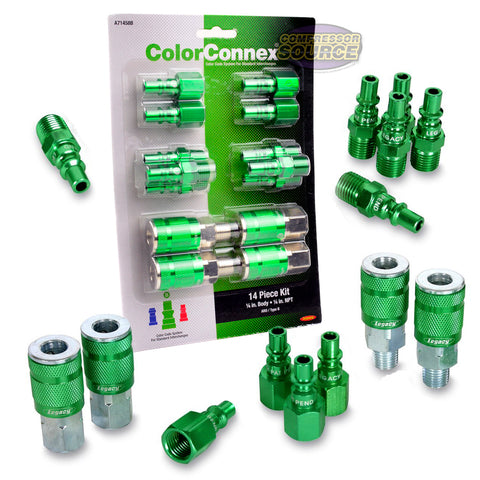 "Legacy ARO Type B A71458B 14 Pc 1/4"" Inch Green Coupler / Plug Kit Set New"