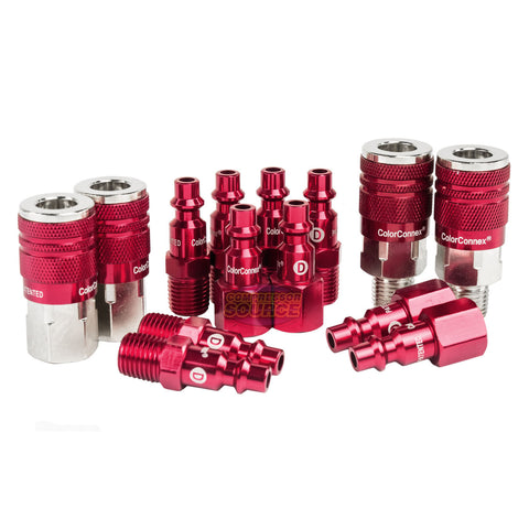 "Legacy Industrial Type D A73458D 14 Pc 1/4"" Inch Red Coupler / Plug Kit Set"