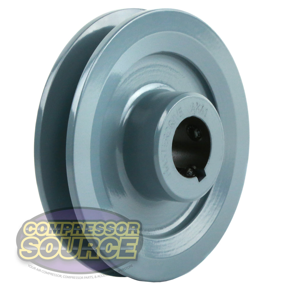 """4/"""" Cast Iron 7//8/"""" Shaft Pulley Sheave Single 1 Groove V Style A Belt 4L New"""