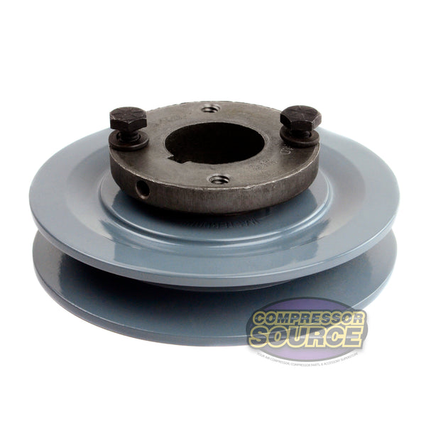 "Cast Iron 4.5"" Single 1 Groove Belt A Section 4L Pulley & 1-3/16 Sheave Bushing"