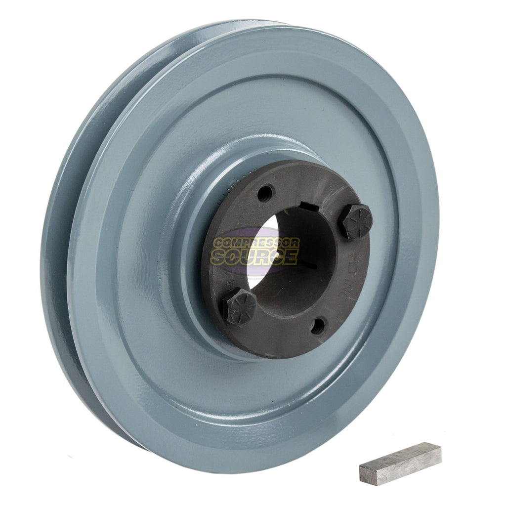 "2 Piece BK52H Cast Iron 5"" Single Groove Belt B Section 5L Pulley With 1-3/8 Sheave Bushing"