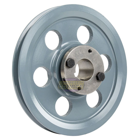 "8.25"" 2 Piece Cast Iron Single 1 Groove Belt A Section 4L Pulley w 1-1/8"" Sheave Bushing AK84H"