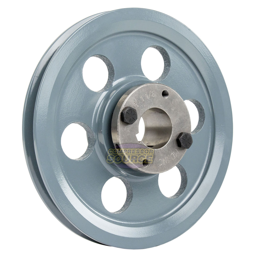 "7.75"" 2 Piece Cast Iron Single 1 Groove Belt A Section 4L Pulley With 1-1/8"" Sheave Bushing"