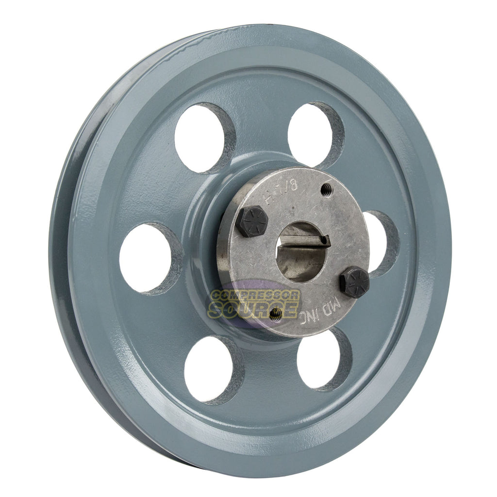 "8.25"" 2 Piece Cast Iron Single 1 Groove Belt A Section 4L Pulley w/ 7/8"" Sheave Bushing AK84H"