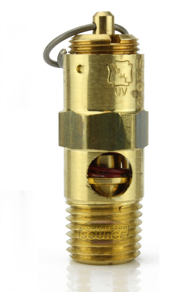 "135 PSI 1/4"" Male NPT Air Compressor Pressure Relief Safety Pop Off Valve Solid Brass"