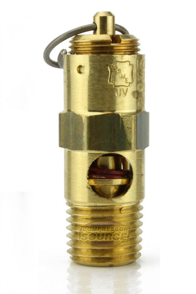 "175 PSI 1/4"" Male NPT Air Compressor Pressure Relief Safety Pop Off Valve Solid Brass"