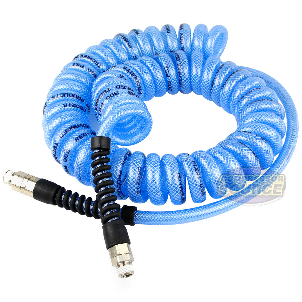 "25' FT x 3/8"" Blue Coil Air Hose High Grade Flexible Coiled Armorthane 300 PSI"