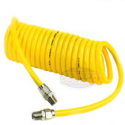 "Premium 1/4"" x 15' Air Compressor Coil Hose Polyurethane Coiled With Swivel End Yellow"
