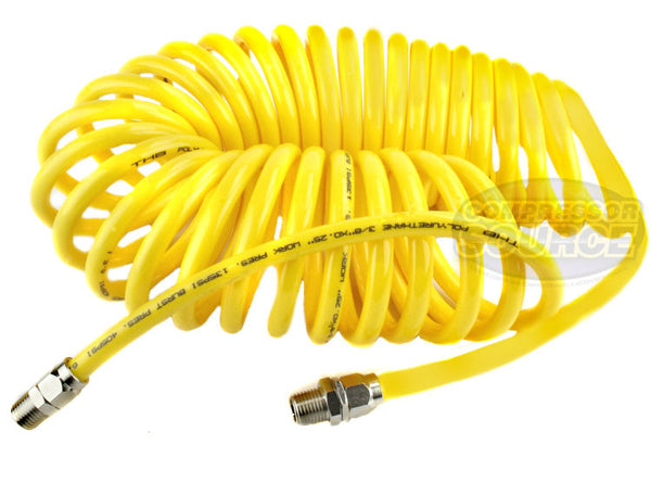 "Premium 1/4"" x 25' Air Compressor Coil Hose Spiral Polyurethane With Swivel End Yellow"