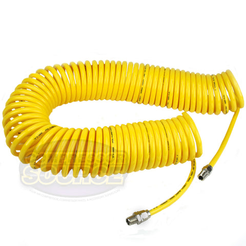 "Premium 1/4"" x 50' Air Compressor Coil Hose Coiled Polyurethane With Swivel End Yellow"