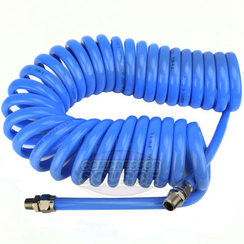"Coiled High Quality  3/8"" X 25' Polyurethane Air Compressor Coil Hose Recoil New"