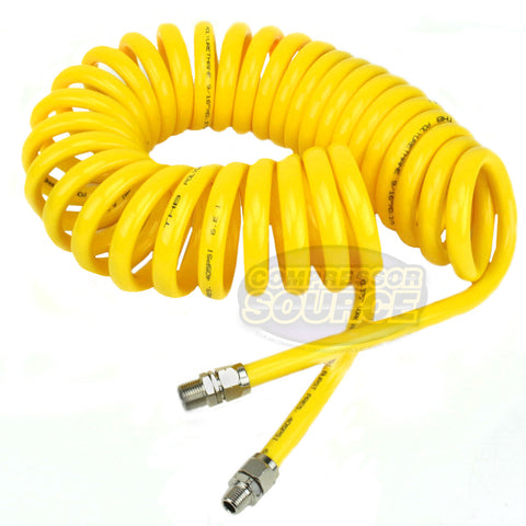 "Premium 3/8"" x 25' Air Compressor Coil Hose Spiral Polyurethane With Swivel End Yellow"
