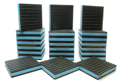 "Set of 24 New Industrial Anti Vibration Pads 4"" x 4"" x 7/8"" Thick Blue Composite Center"