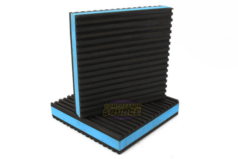 "Set of 2 New Industrial Anti Vibration Pads 4"" x 4"" x 7/8"" Thick Blue Composite Center"