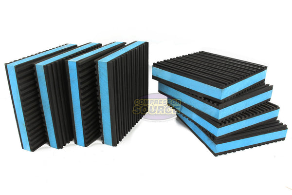 "Set of 8 New Industrial Anti Vibration Pads 4"" x 4"" x 7/8"" Thick Blue Composite Center"