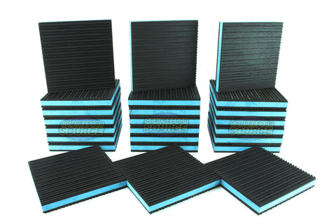 "Set of 24 New Industrial Anti Vibration Pads 6"" x 6"" x 7/8"" Thick Blue Composite Center"