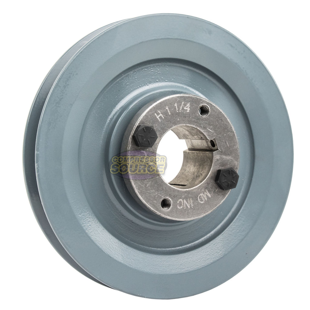 "5.75"" 2 Piece Cast Iron Single Groove Pulley B Belt (5L) Style 1-1/4"" Shaft BK60H"
