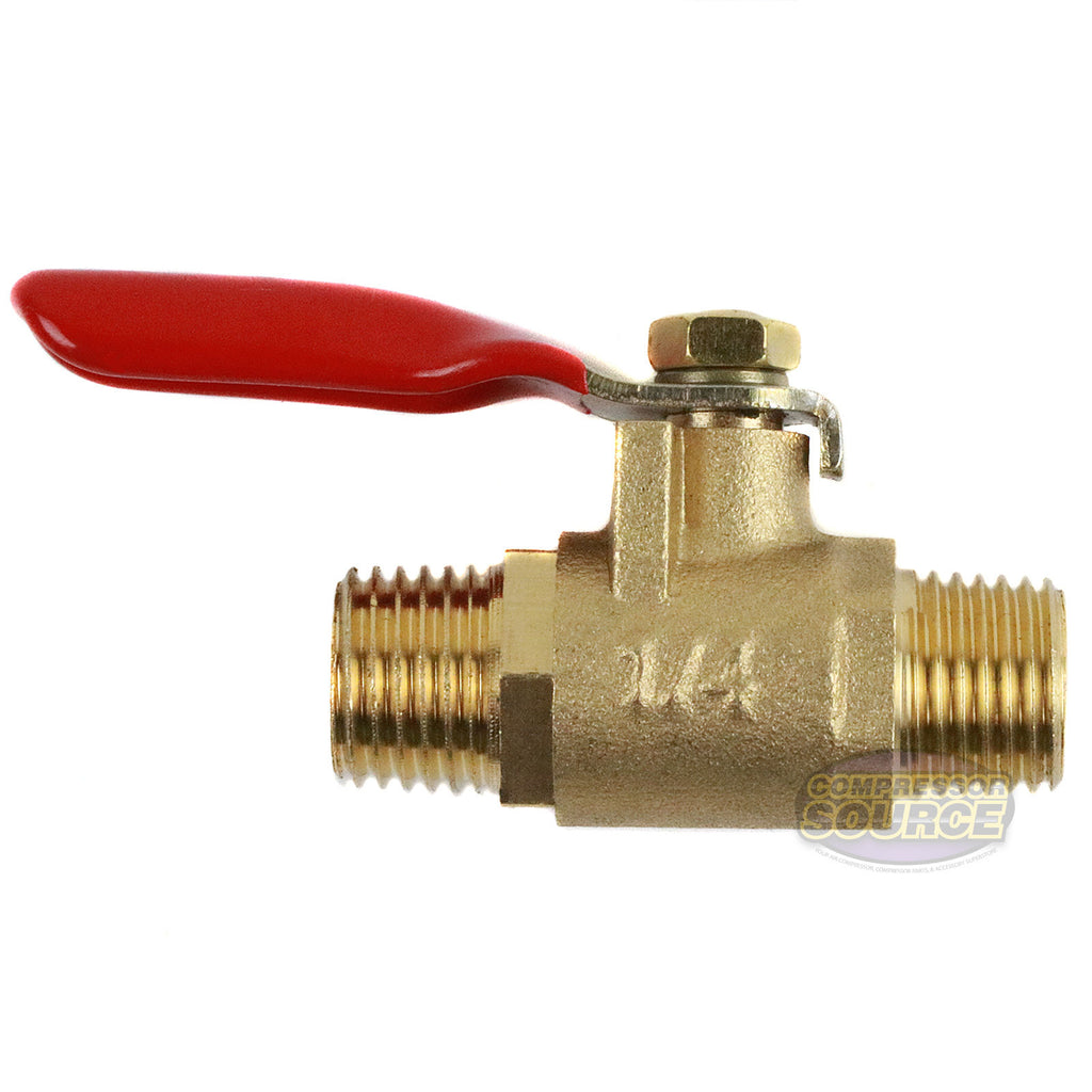 "1/4"" Male Male NPT Brass Ball Valve Water Moisture Air Tank Drain Shut Off New"