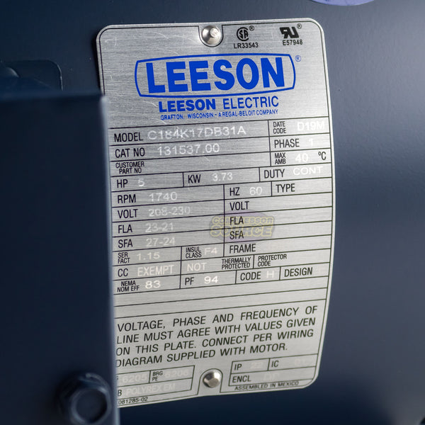 Leeson 5 HP Single Phase Electric Compressor Motor 184T Frame C184K17DB31A 230 V
