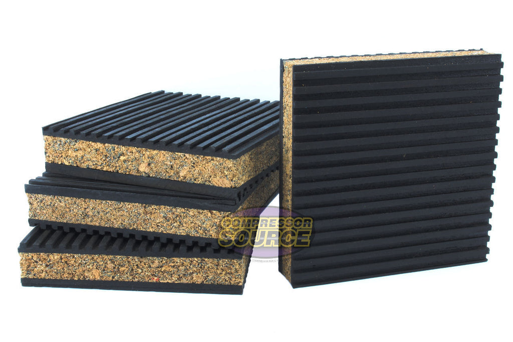 "Set of 4 New Industrial Anti Vibration Pads 4"" x 4"" x 7/8"" Thick Cork Center"