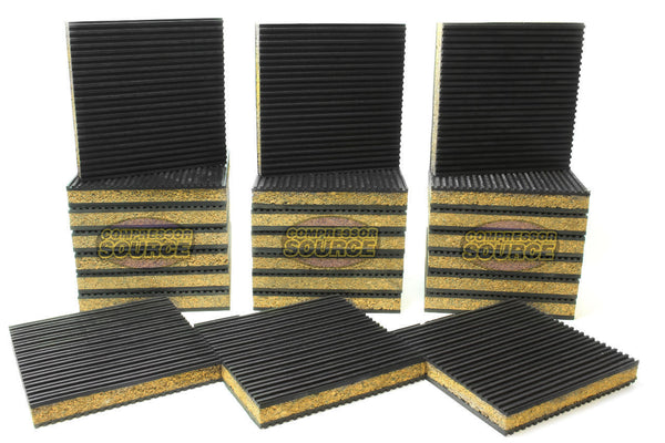 "Set of 24 New Industrial Anti Vibration Pads 6"" x 6"" x 7/8"" Thick Cork Center"