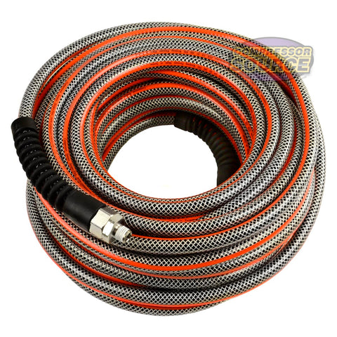 "3/8"" x 100' Ft Striper Flex Reinforced Hybrid PVC Air Hose Bend Restrictors Flexible Abrasion Resistant"