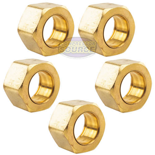 "5 Pack 1/2"" Compression Nut & Ferrule Combo for 1/2"" OD Tube Brass Sleeve Nut"