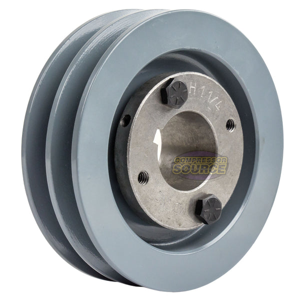 "4"" 2 Piece Cast iron Dual Groove Pulley A Belt (4L) Style With 1-1/4"" Bore H Bushing 2AK41H"