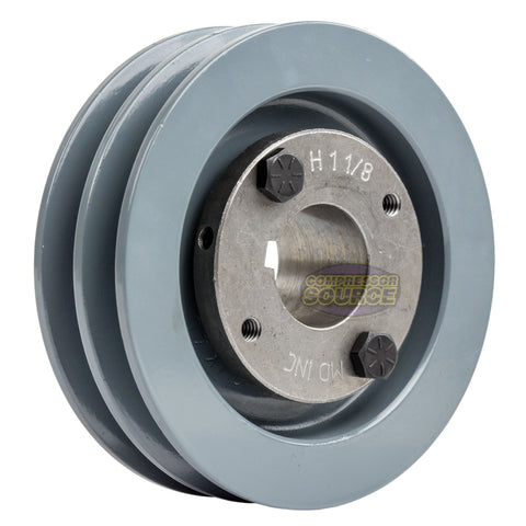 "4.5"" 2 Piece Cast iron Dual Groove Pulley A Belt (4L) Style with 1-1/8"" Bore H Bushing 2AK46H"