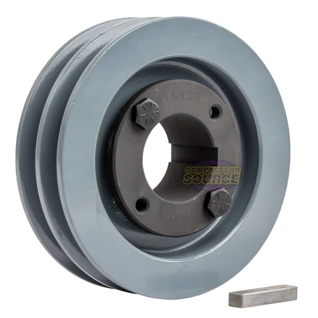 "4"" 2 Piece Cast iron Dual Groove Pulley A Belt (4L) Style With 1-3/8"" Bore H Bushing 2AK41H"